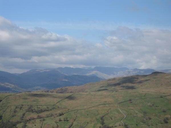 Looking over Wansfell Pike to the Langdale fells