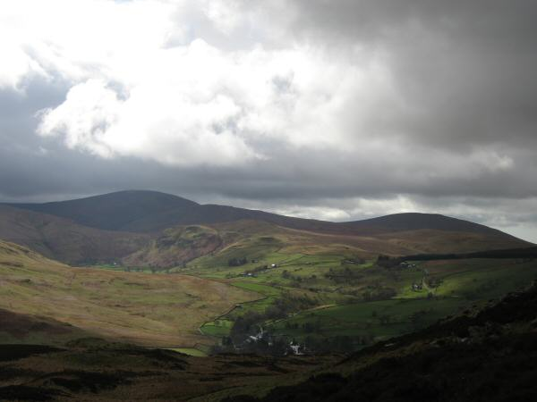 Looking over the village of Dockray to Great Dodd and Clough Head