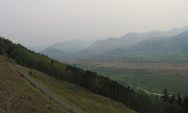 Catbells and Causey Pike can just be made out through the haze