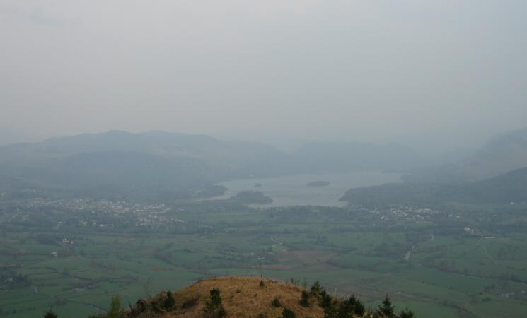Looking south to Derwent Water with the town of Keswick on the left and the village of Portinscale on the right