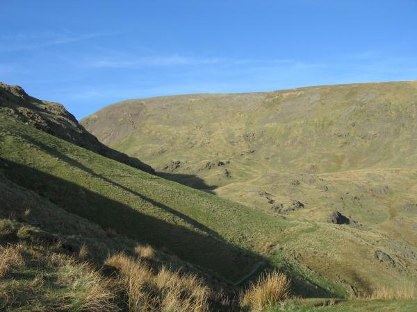 The path to Grisedale Hause from Hause Riggs with Fairfield directly in front