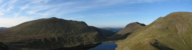 Dollywaggon Pike, Grisedale Tarn, Saint Sunday Crag and Fairfield from the ascent of Seat Sandal