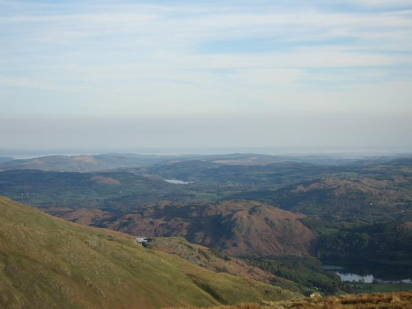 The view south from Seat Sandal with Loughrigg Fell in the centre of the photo
