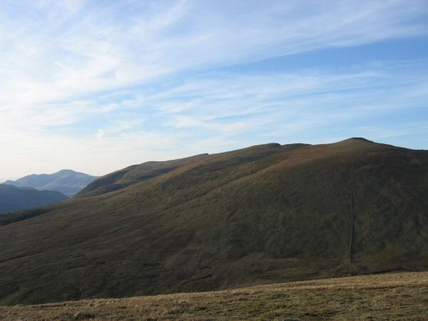 The Helvellyn ridge with the Skiddaw fells in the distance (far left)