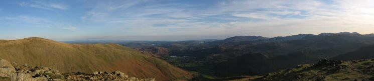 Southerly panorama from the top of Seat Sandal's south ridge