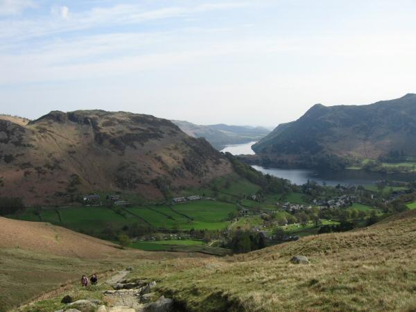 Glenridding Dodd, Ullswater with Place Fell beyond and the village of Glenridding from the Mires Beck path