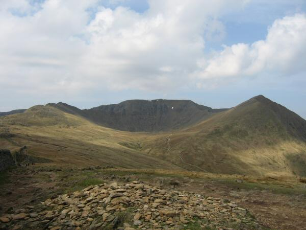 Striding Edge, Helvellyn and Catstycam from Birkhouse Moor's summit cairn