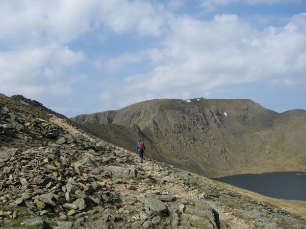 Helvellyn from the path to High Spying How and the start of Striding Edge