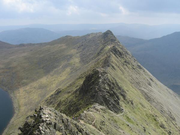 Looking back down on Striding Edge from the climb to Helvellyn's summit