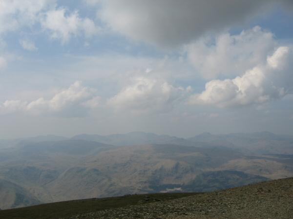 The view west from Helvellyn's summit