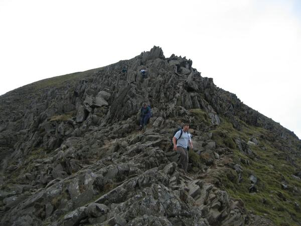Descending the top section of Swirral Edge