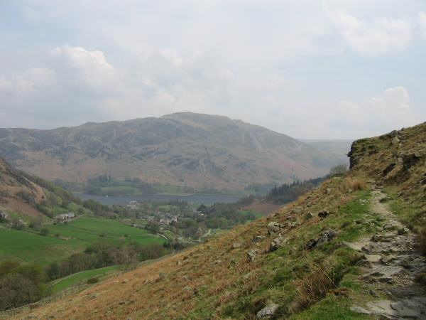 Place Fell and the village of Glenridding from the path on the south side of Glenridding