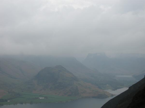 Rannerdale Knotts seen across Crummock Water from the ascent of Mellbreak