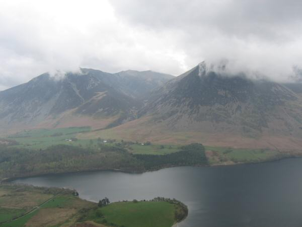 Whiteside and Grasmoor with their tops in cloud