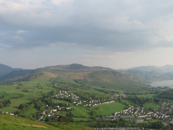 Looking over the Chestnut Hill and Lonsties areas of Keswick to Bleaberry Fell
