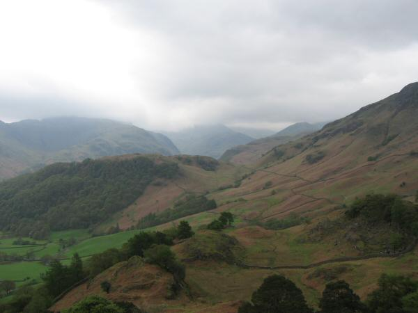 The view south from Castle Crag with the cloud covering the high fells