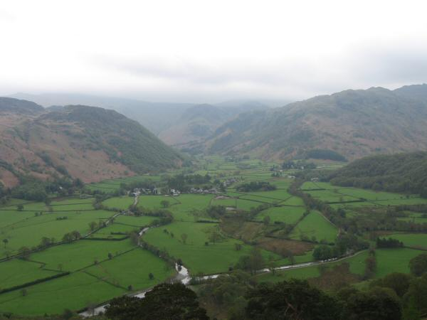 Rosthwaite in Borrowdale from Castle Crag