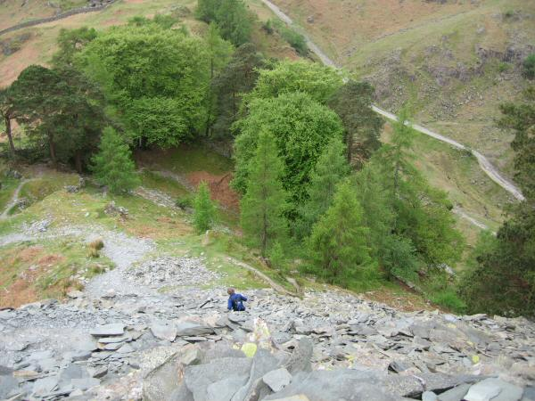 Descending the spoil heap off Castle Crag