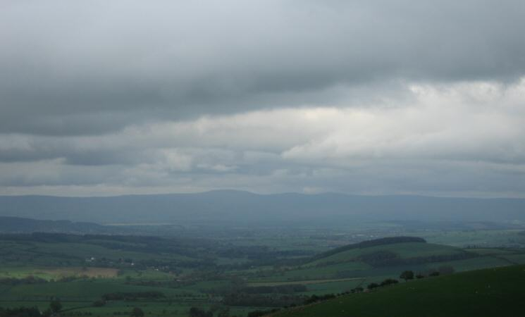 Looking east to the North Pennines. The highest point is Cross Fell