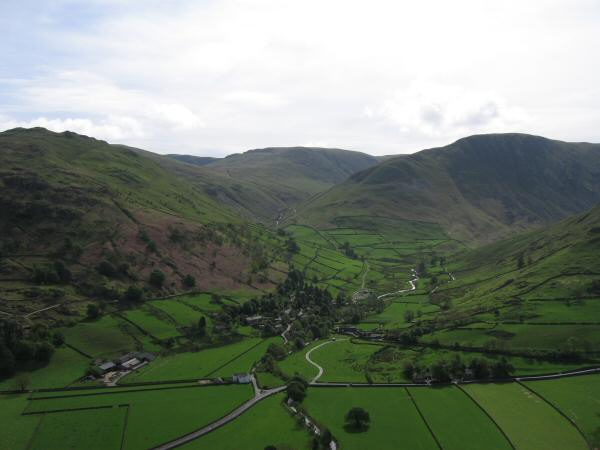 The village of Hartsop with Brock Crags on the left, The Knott centre and Gray Crag on the right