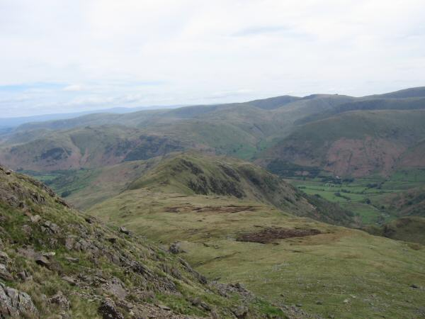 Looking back towards Hartsop Above How from the ascent of Hart Crag
