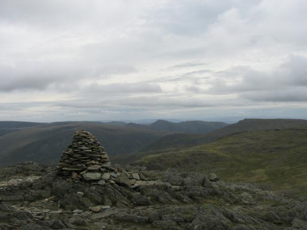 The pointed Ill Bell from Hart Crag's summit cairn
