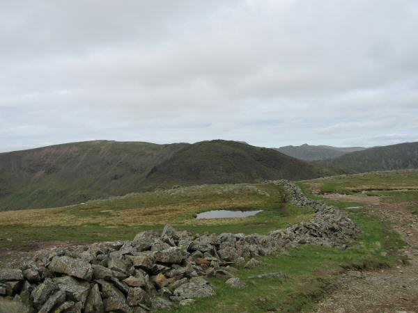 Looking back to Hart Crag with Fairfield on the left from Dove Crag