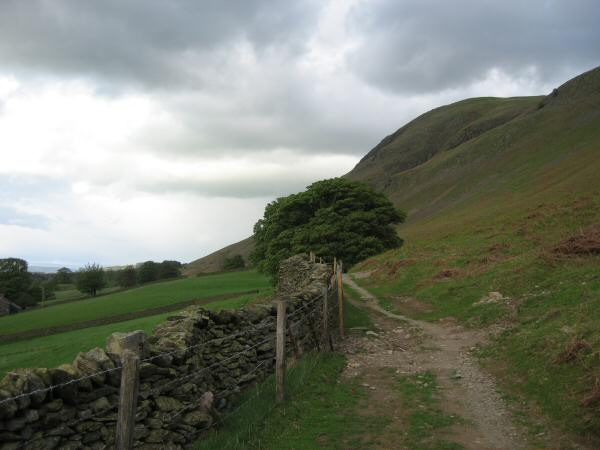 The track out of Howtown heading along under Arthur's Pike