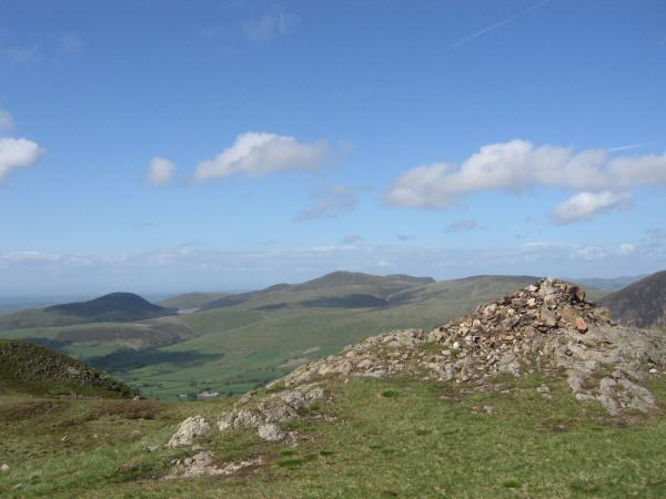 Knock Murton (on the left in shadow) and Blake Fell (centre) from Crag Fell's summit cairn