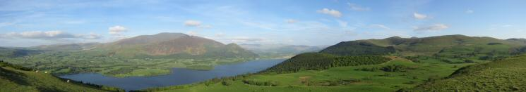 The Skiddaw fells, Bassenthwaite Lake and the Lord's Seat fells from Lothwaite