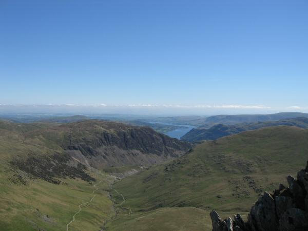 Sheffield Pike and Ullswater from the north-west ridge of Catstycam