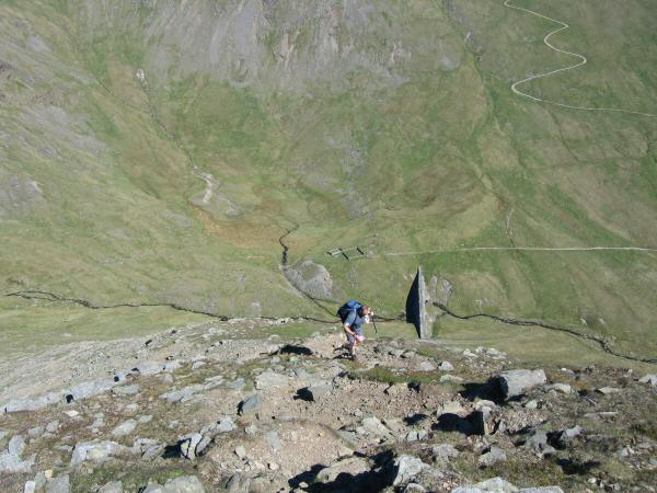 Looking back down Catstycam's north west ridge to Keppel Cove Dam