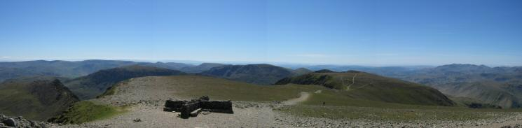 Southerly panorama from Helvellyn's summit