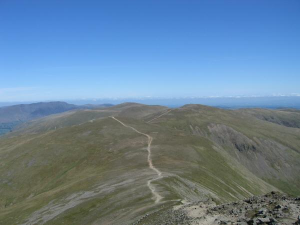 The path to White Side with the Dodds beyond from Helvellyn Lower Man's summit