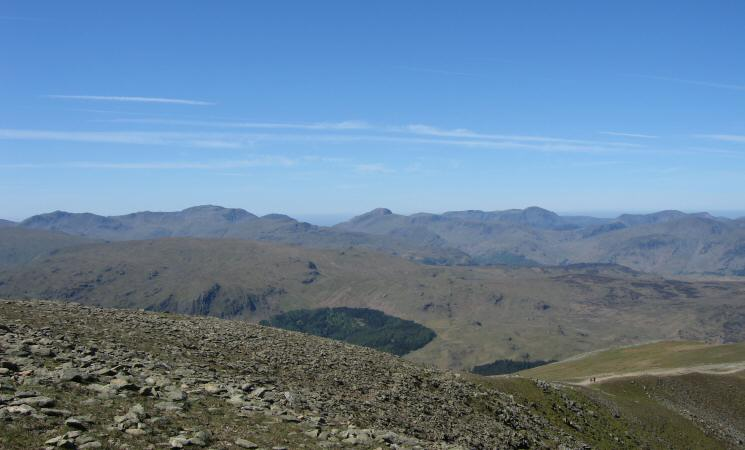 The high central fells - Bowfell, Scafell Pike, Great Gable, Pillar and the High Stile ridge