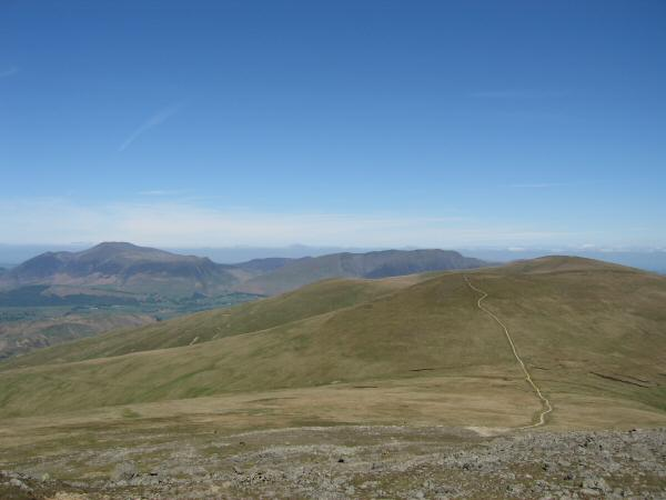 The path to Stybarrow Dodd from Raise with Skiddaw and Blencathra in the distance