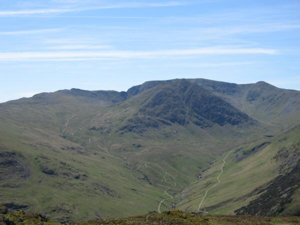 Striding Edge, Helvellyn behind Catstycam, and Helvellyn Lower Man from Sheffield Pike