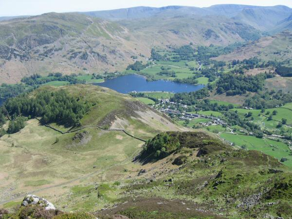 Looking down on Glenridding Dodd and the head of Ullswater from Heron Pike