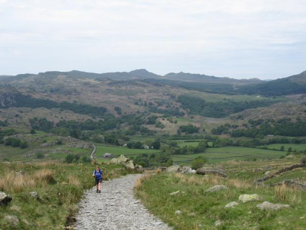 Heading up the Walna Scar Road with Green Crag and Crook Crag on the skyline