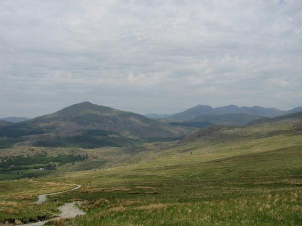 Harter Fell (Eskdale) and the Scafells from the Walna Scar Road