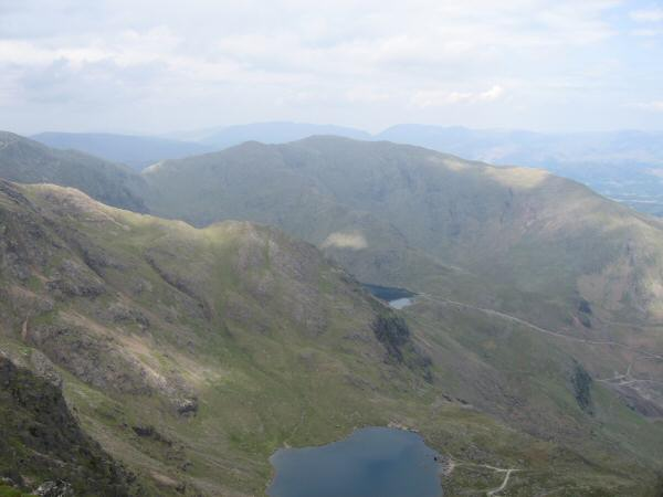 Wetherlam from Coniston Old Man with Low Water straight down and a glimpse of Levers Water