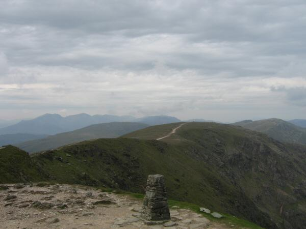 Brim Fell from Coniston Old Man's summit with the Scafells in the distance