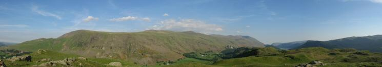 Clough Head, the Dodds and Helvellyn from High Rigg's summit