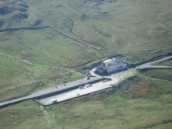 Looking back down on ther Kirkstone Pass Inn from our ascent of Red Screes