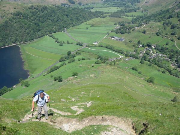 Ascending Hartsop Dodd's north ridge with the village of Hartsop below