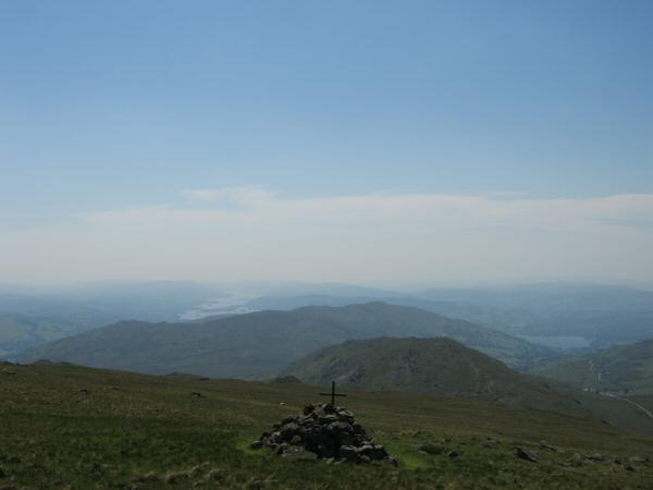 St Raven's Edge with Wansfell behind and Windermere in the distance from the Atkinson Monument on Caudale Moor