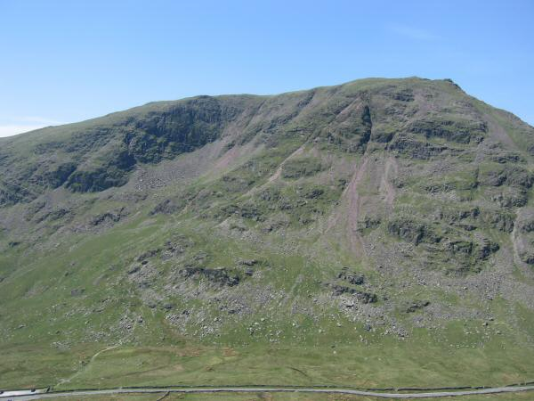 Red Screes with Kirkstone Pass running along the bottom of the photo