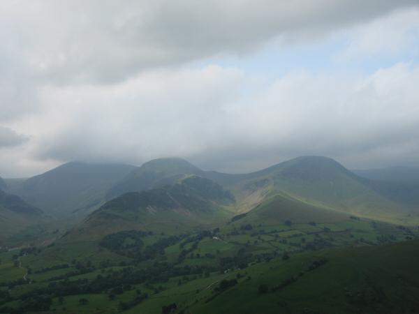 Dale Head (top in cloud), Hindscarth and Robinson