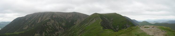Grasmoor, Thirdgill Head Man and Wandope from Whiteless Pike's summit