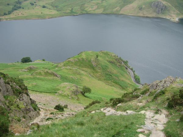 Looking down on Hause Point, Crummock Water